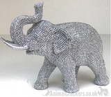 Glitzy silver sparkly diamante Elephant ornament from Lesser & Pavey