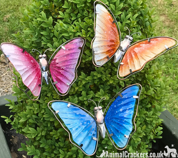 Set of 3 colourful Butterflies on stakes garden decoration butterfly lover gift