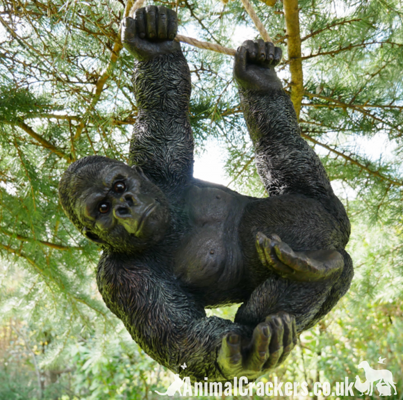 Swinging GORILLA climbing on rope garden ornament/decoration