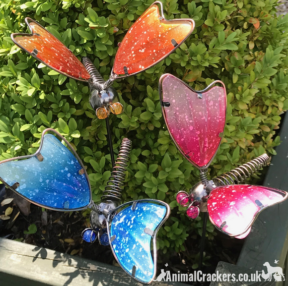 Set of 3 colourful Dragonflies on stakes garden decoration Dragonfly lover gift