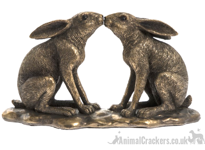 Two Kissing Hares ornament figurine Leonardo Bronzed Reflections, gift boxed