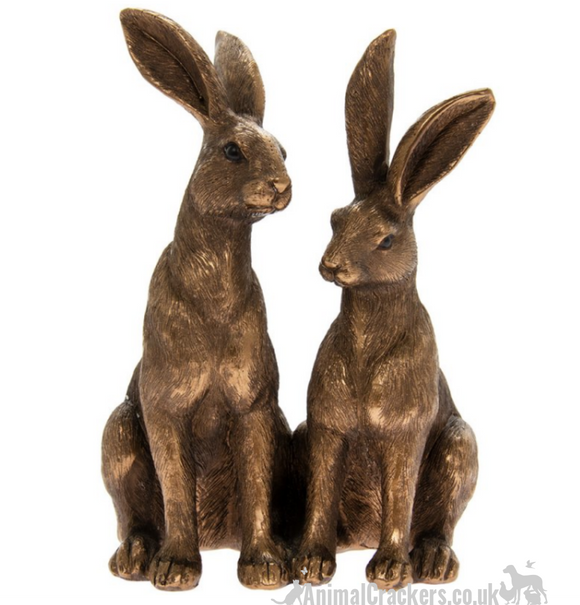 Leonardo Bronzed Two Sitting Hares ornament figurine sculpture decoration, boxed