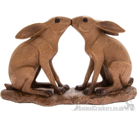 Leonardo carved Wood effect Kissing Hares ornament decoration figurine , boxed