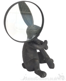 Bronze effect Hare with magnifying glass ornament figurine, Rabbit lover gift