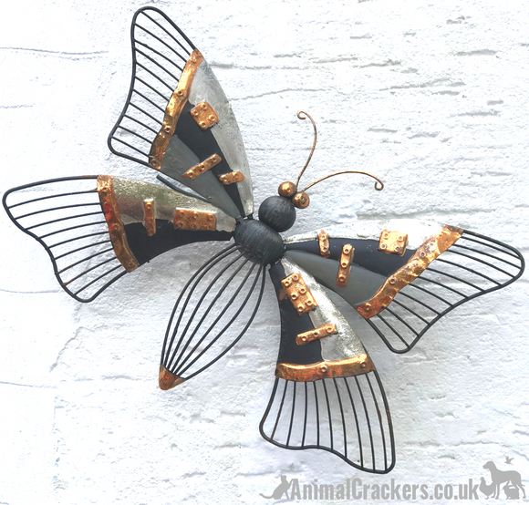 38cm Grey /Bronze metal BUTTERFLY wall art garden ornament sculpture decoration