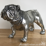 Large 26cm Silver Bulldog Ornament Sculpture Figurine Decoration dog lover gift