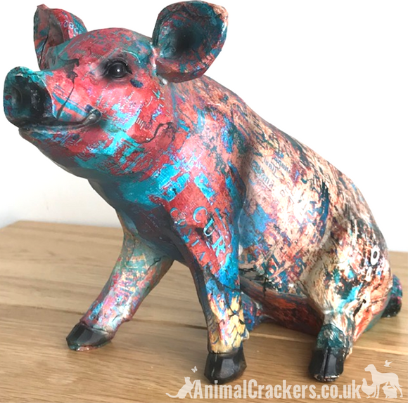 Colourful painted Piglet ornament sculpture figure decoration Pig lover gift