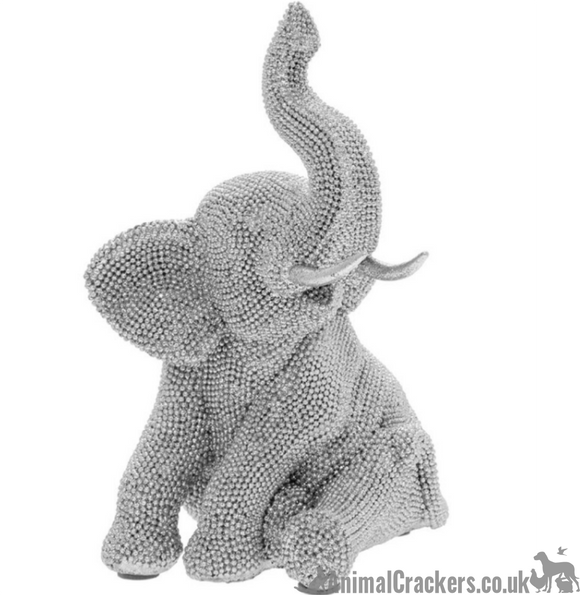Glitzy glittery silver diamante Sitting Elephant ornament figurine from Lesser & Pavey