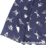 Silver Foil print Cat Scarf Sarong, lightweight cotton mix, choice of colours