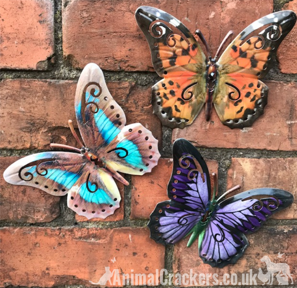 Set of 3 bright 16cm Metal Butterflies garden decoration wall art