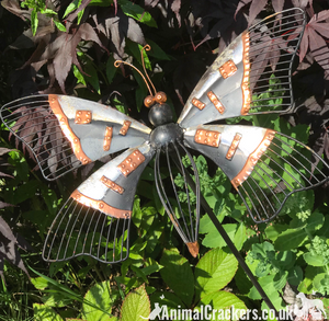Metal BUTTERFLY STAKE, Grey & Copper painted garden ornament