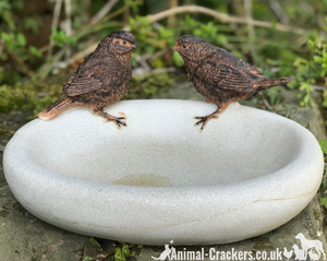 Bird Bath or feeder, aged stone effect bowl with 2 decorative bronze effect wrens. Ideal bird lover gift!
