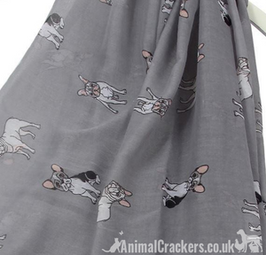 Ladies lightweight French Bulldog Scarf Sarong, cotton mix