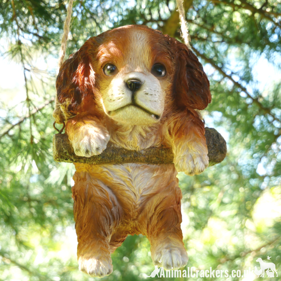 Hanging Puppy on rope novelty tree garden ornament decoration Dog lover gift