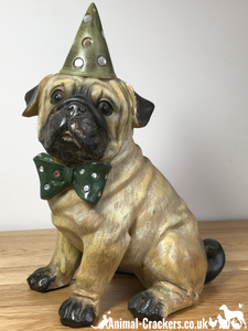 Large Party Pug in hat & bow tie figurine, quality heavy weight item