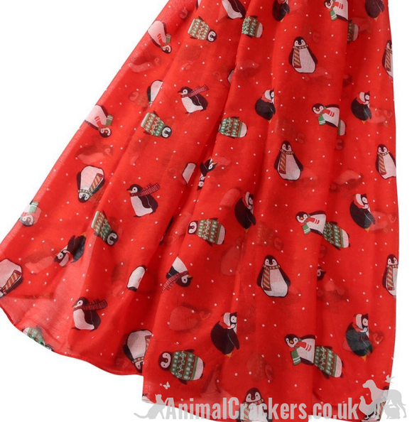 Ladies lightweight bright red Penguin print Christmas Scarf Sarong, great stocking filler!