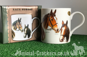 Famous Racehorses Mug featuring Red Rum, Shergar, Nijinski etc, great racehorse lover gift, boxed