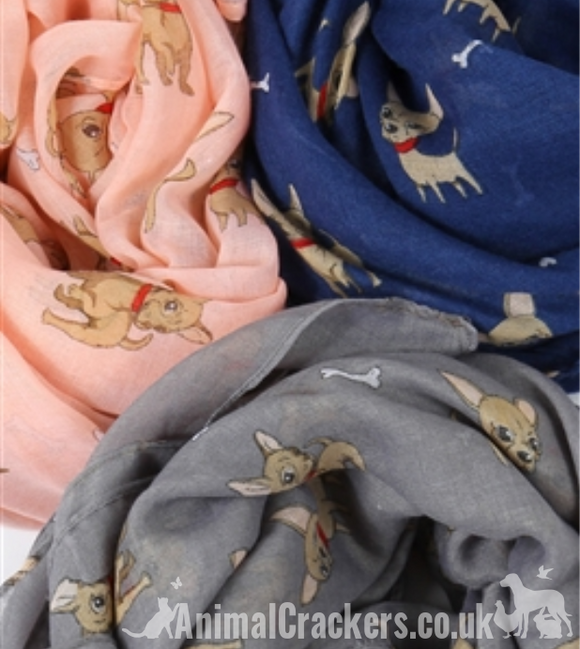 Ladies lightweight Chihuahua Scarf Sarong in a selection of colours