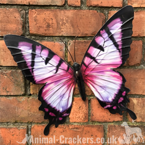 Large 35cm bright Pink metal Butterfly garden ornament wall art decoration boxed