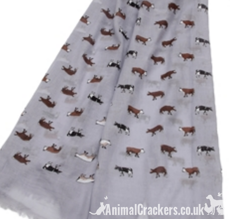 Ladies lightweight cotton mix Dairy Cow print Scarf Sarong in choice of colours