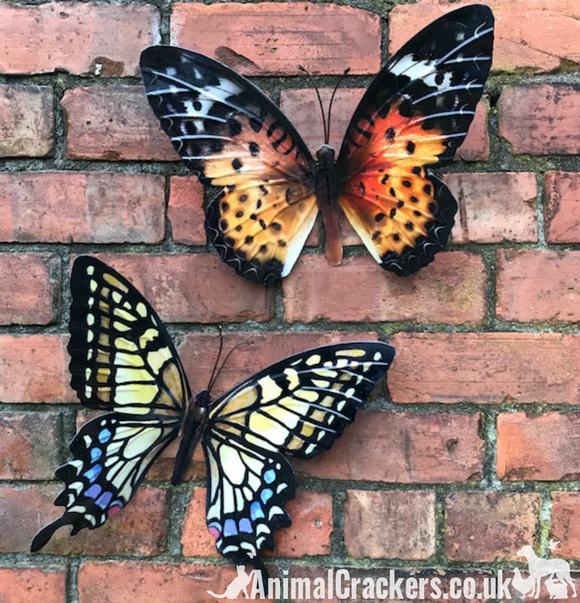 2 large 35cm metal Butterfly wall art decorations, one Yellow one Orange, boxed