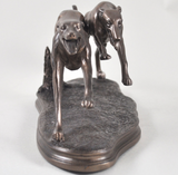 2 Racing Greyhounds by Beauchamp Bronze sculpture ornament figurine collectable