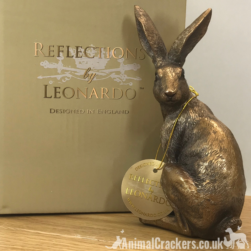 Leonardo Reflections Bronzed range bronze effect Sitting Hare ornament figurine, gift boxed