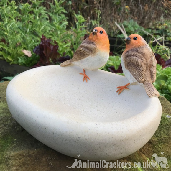 Robin Bird Bath or feeder, aged stone effect bowl with decorative robns. Ideal robin lover gift.