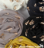 Ladies lightweight ELEPHANT gold foil print ladies Scarf Sarong in choice of colours