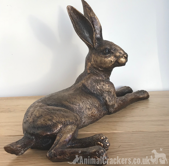 Large 25cm Bronze effect laying Hare ornament sculpture figurine hare lover gift