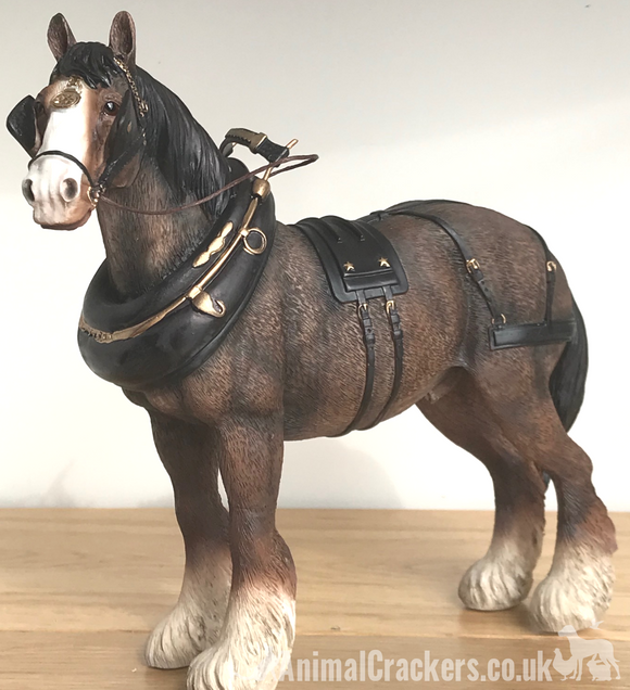 Large 22cm Bay Shire Cart Heavy Horse in harness ornament figurine Leonardo, gift boxed