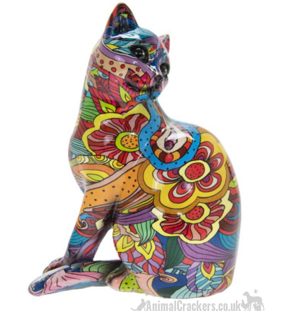 Groovy Art glossy bright coloured Sitting Cat ornament figurine Cat lover gift