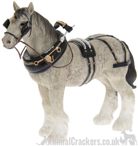 Grey Shire Cart Heavy Horse in harness ornament figurine quality Leonardo boxed