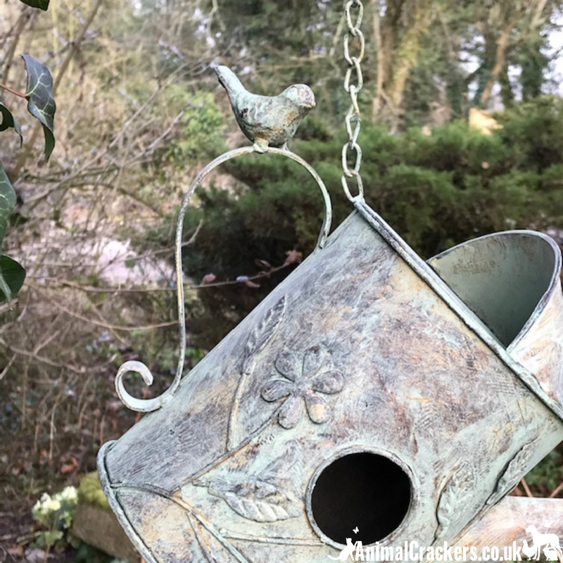 Metal verdigris effect Watering Can bird house nest box ornament bird lover gift