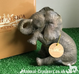 Sitting Elephant Calf teardrop ornament figurine lifelike Leonardo, gift boxed