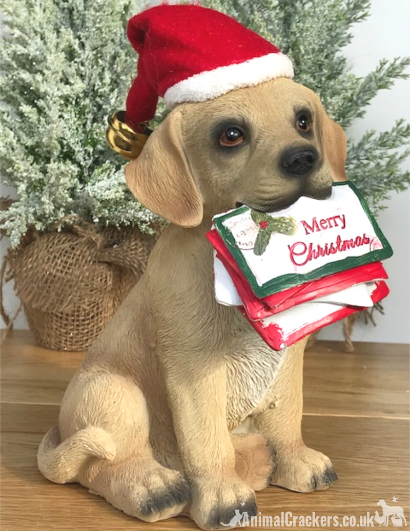 Christmas Golden Labrador Dog Puppy festive ornament decoration sculpture figure