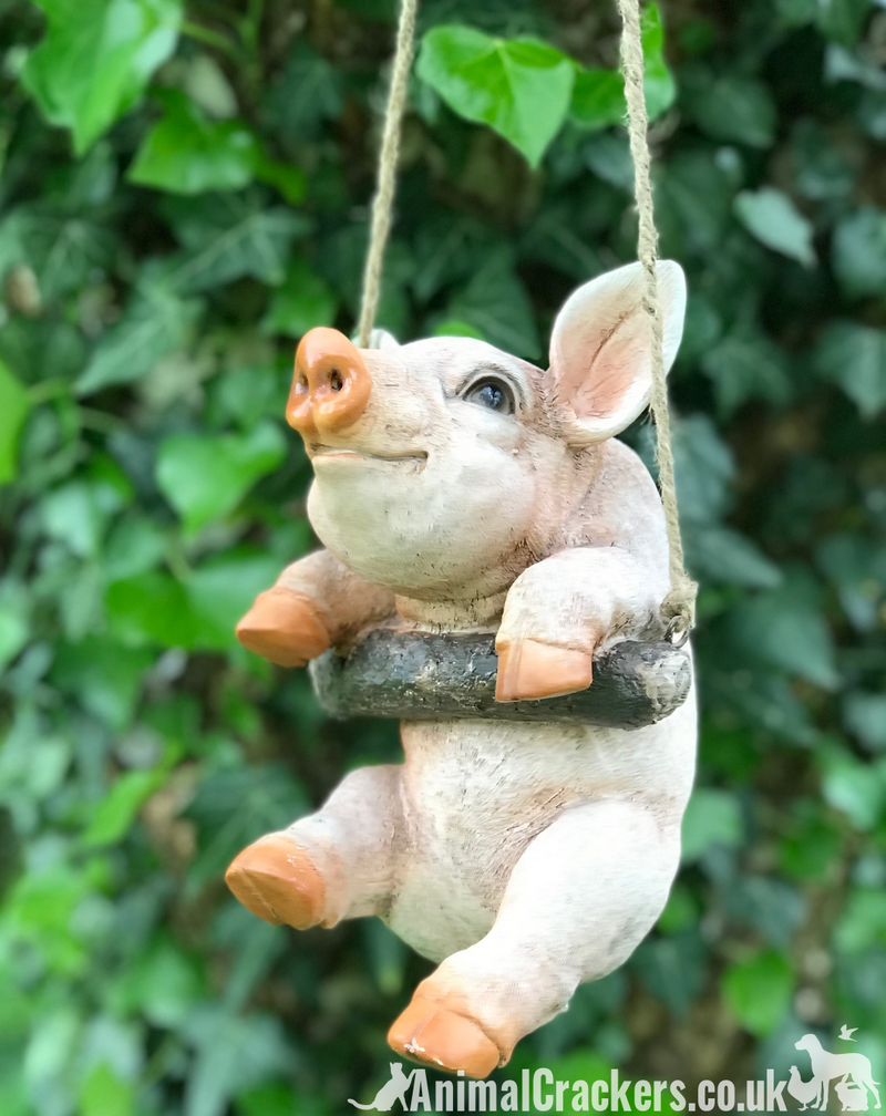 Hanging Piglet on rope novelty tree garden ornament decoration Pig lover gift