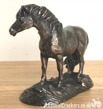 Bronze Shetland Pony ornament figurine by Harriet Glen, horse lover gift, boxed