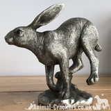 Silver effect Running Hare ornament figurine, Leonardo reflections, Gift boxed
