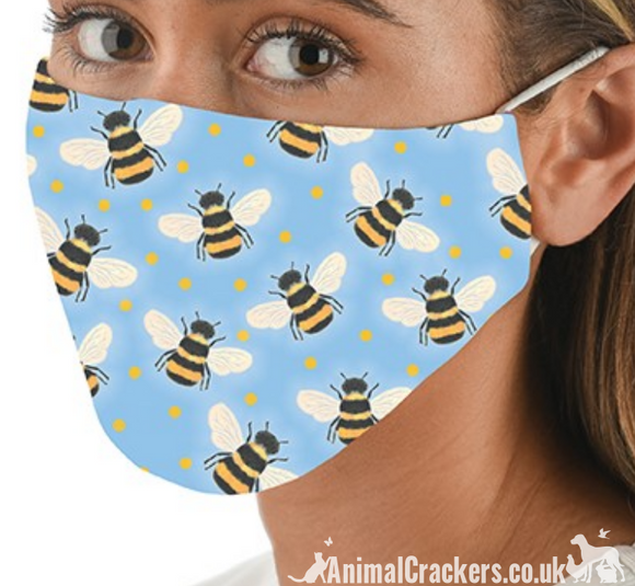 Comfortable washable 3 layer Bee Print Face Mask from Snoozies, great quality Honey Bee lover gift
