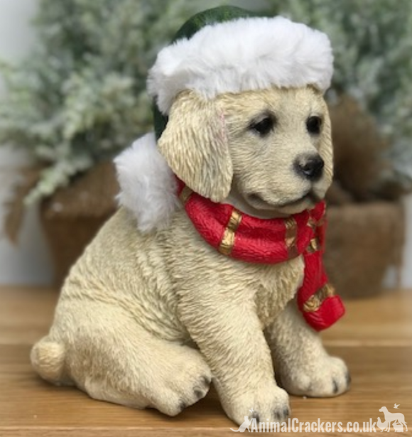 Christmas Golden Labrador Dog Puppy in hat & scarf ornament decoration figurine