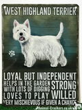 20cm metal old style West Highland Terrier Westie breed character sign plaque