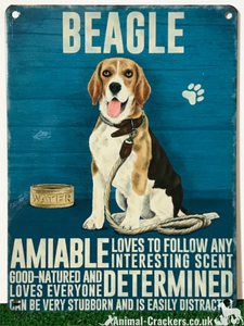 20cm metal vintage style Beagle lover gift breed character hanging sign plaque