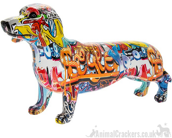 EXTRA LARGE 43cm Graffiti Art coloured Dachshund ornament figurine Sausage Dog lover gift
