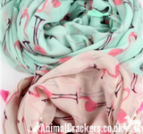 Ladies Flamingo tassel scarf sarong cotton mix in Pink or Mint Green