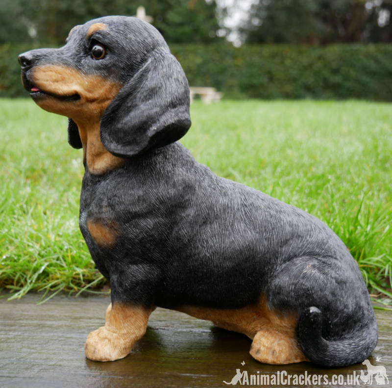 Cute sitting Dachshund indoor or garden ornament, great Sausage Dog lover gift