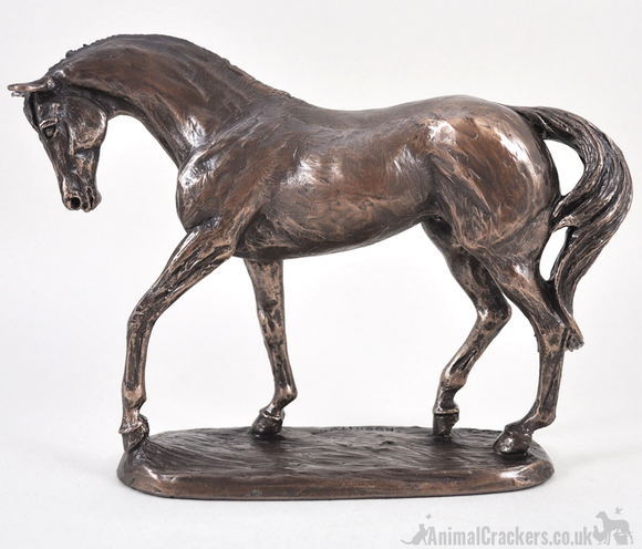 'Nobility' horse figurine by Harriet Glen, cold cast bronze ornament, racehorse lover gift