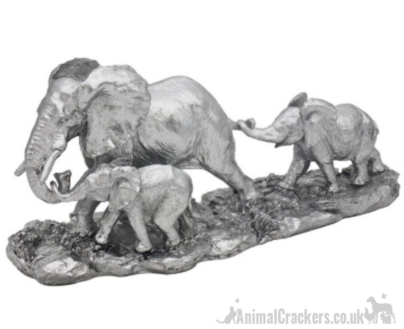 Mother Elephant with two Calves, lovely quality ornament from the Leonardo Reflections Silver range, gift boxed