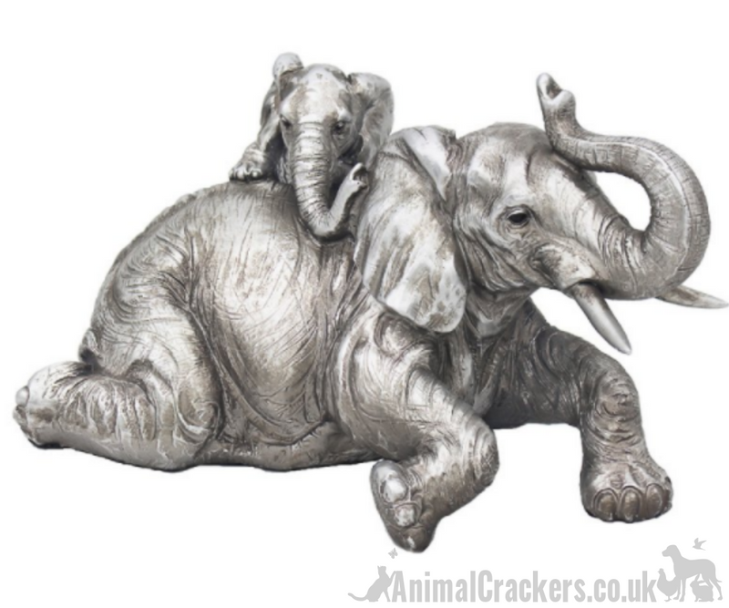 Mother Elephant with playful Calf ornament from the Leonardo Reflections Silver range, gift boxed
