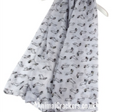Ladies lightweight Mini Dachshund print Scarf Sarong in choice of colours